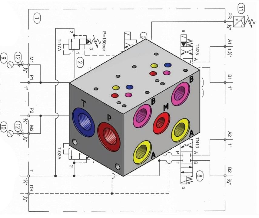 Bloco manifold com circuito
